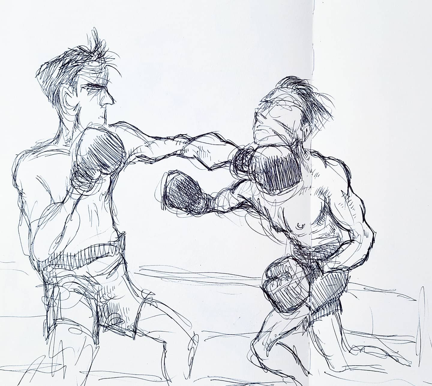 Boxers, Swinging Ballpoint Pen on Paper