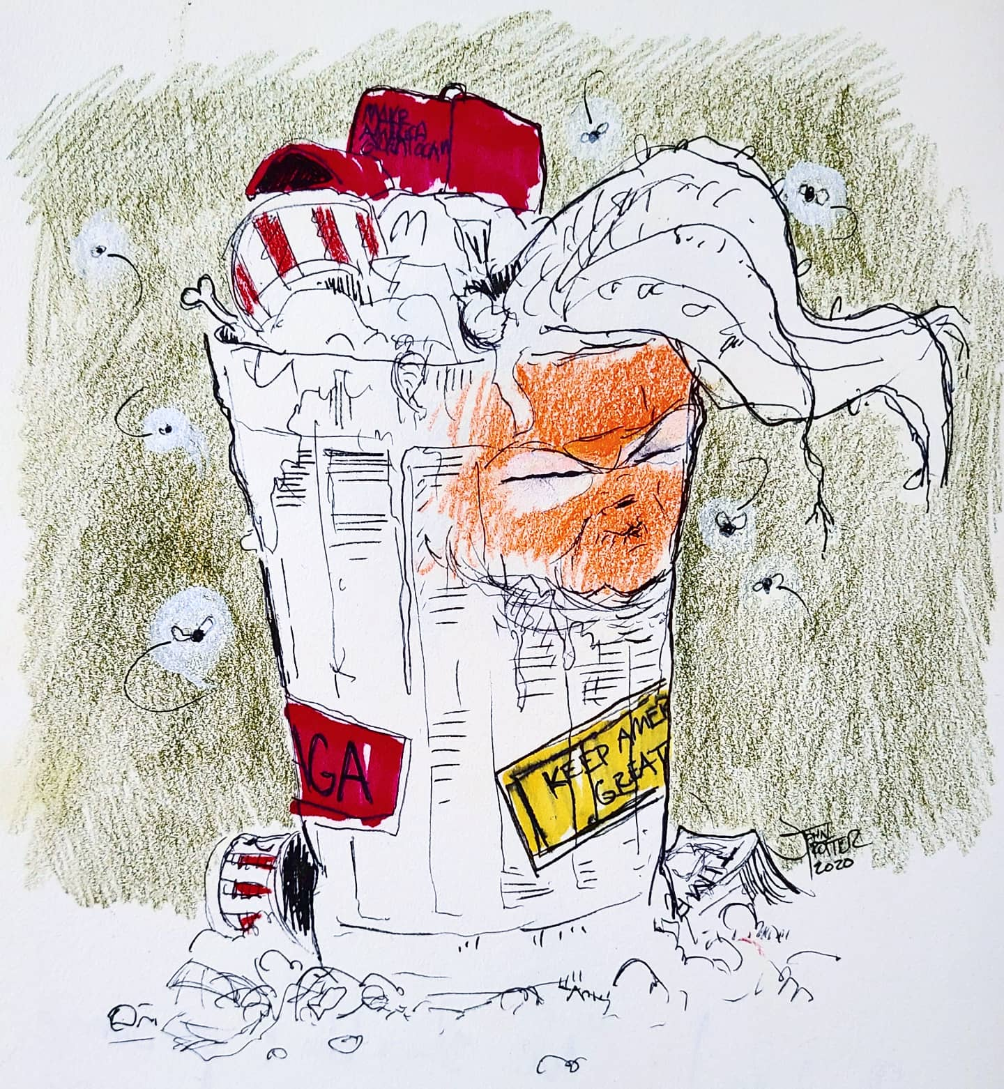 Garbage Man Mixed Media on paper