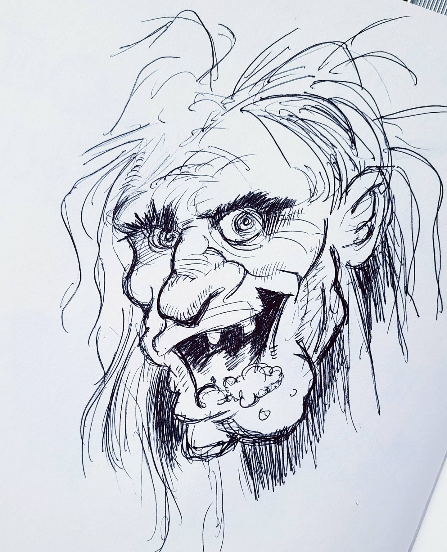 Jack Davis Head Study Ballpoint Pen on Paper