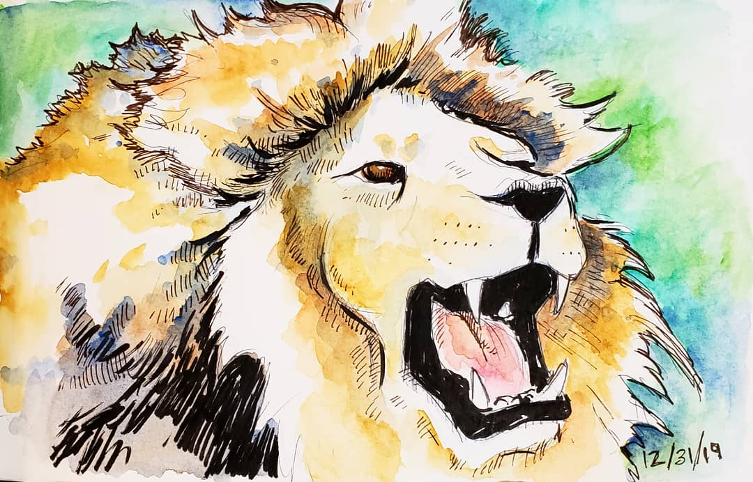 Lion Ink/Watercolor on Paper