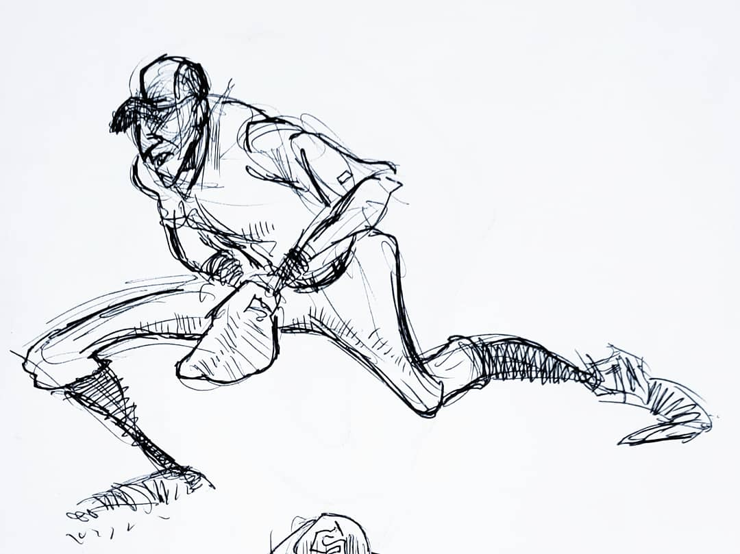 Second Baseman Ballpoint Pen on Paper