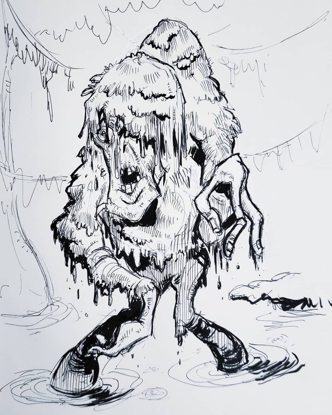 Swamp Zombie (Jack Davis Style) Ink on Paper