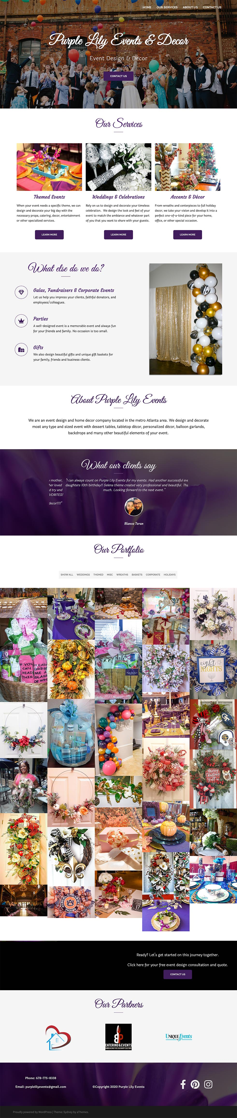 Screenshot of the Purple Lily Events homepage.